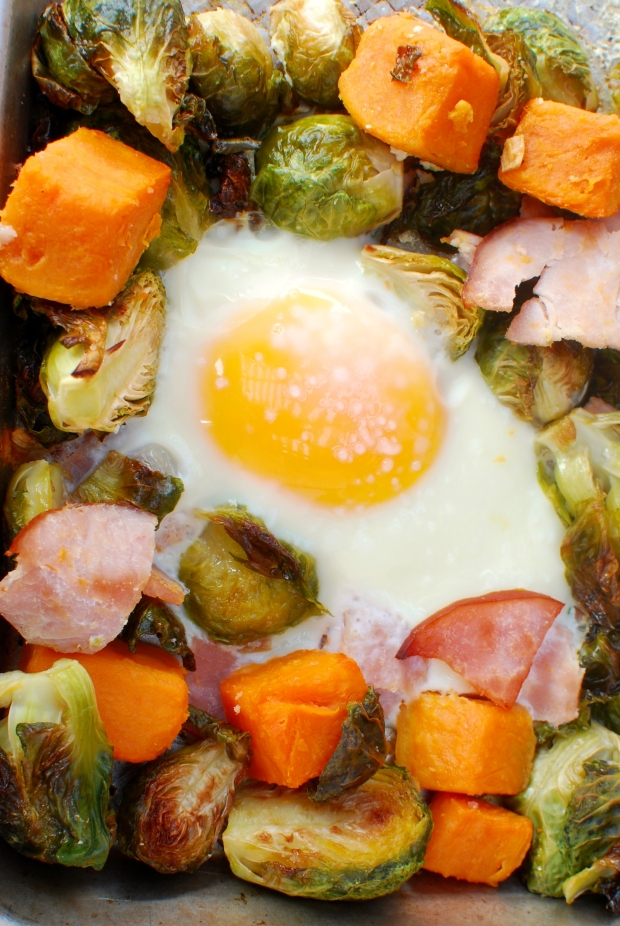 Roasted brussels sprouts, sweet taters, Canadian bacon and eggs